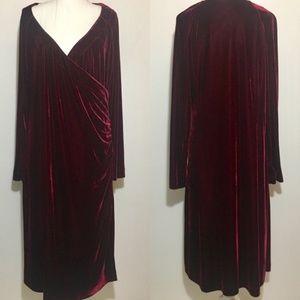 Red Velvet Soft Surroundings Faux Wrap Dress